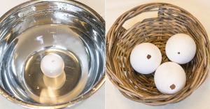 Coloque as cascas de molho em vinagre e água