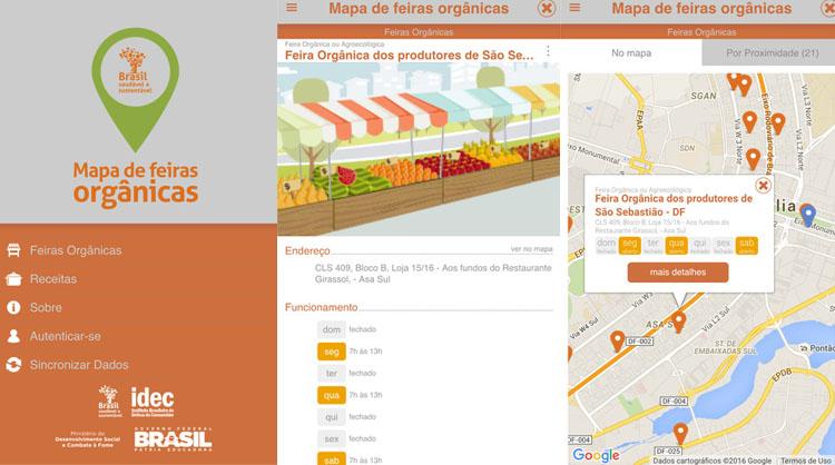 Mapa feiras organicas brasil app aplicativo