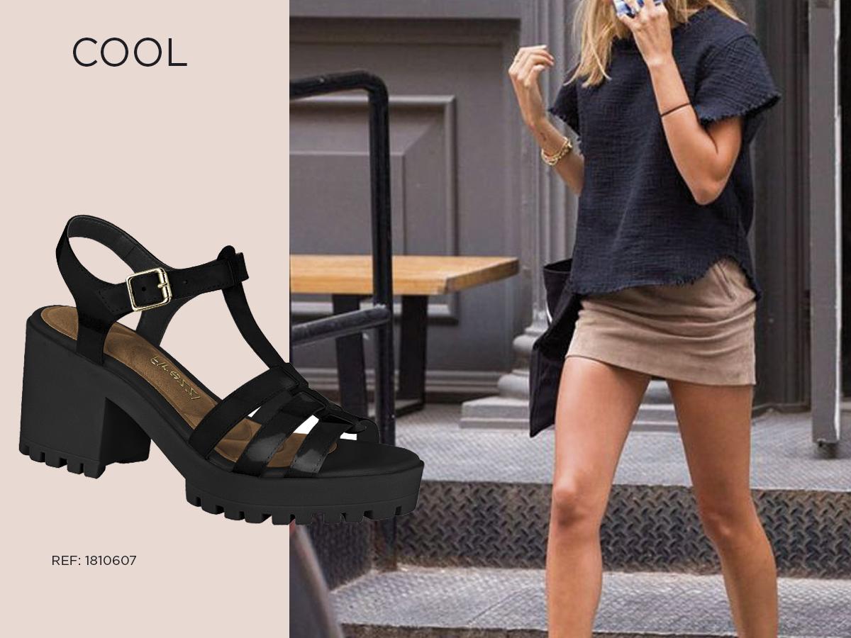 cool - sandalia tratorada preta com minissaia nude blusa preta
