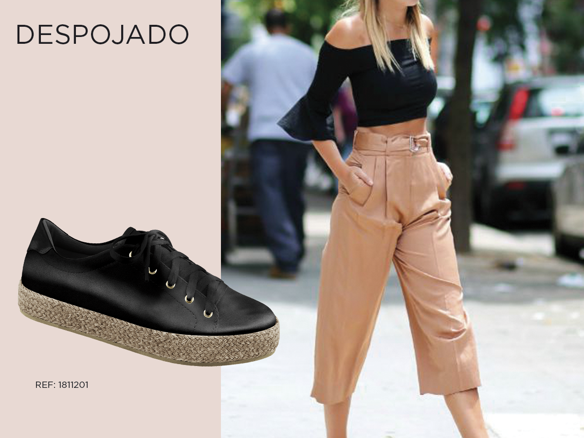 look despojado qual sapato usar tenis preto street style calca pantacourt cropped preto