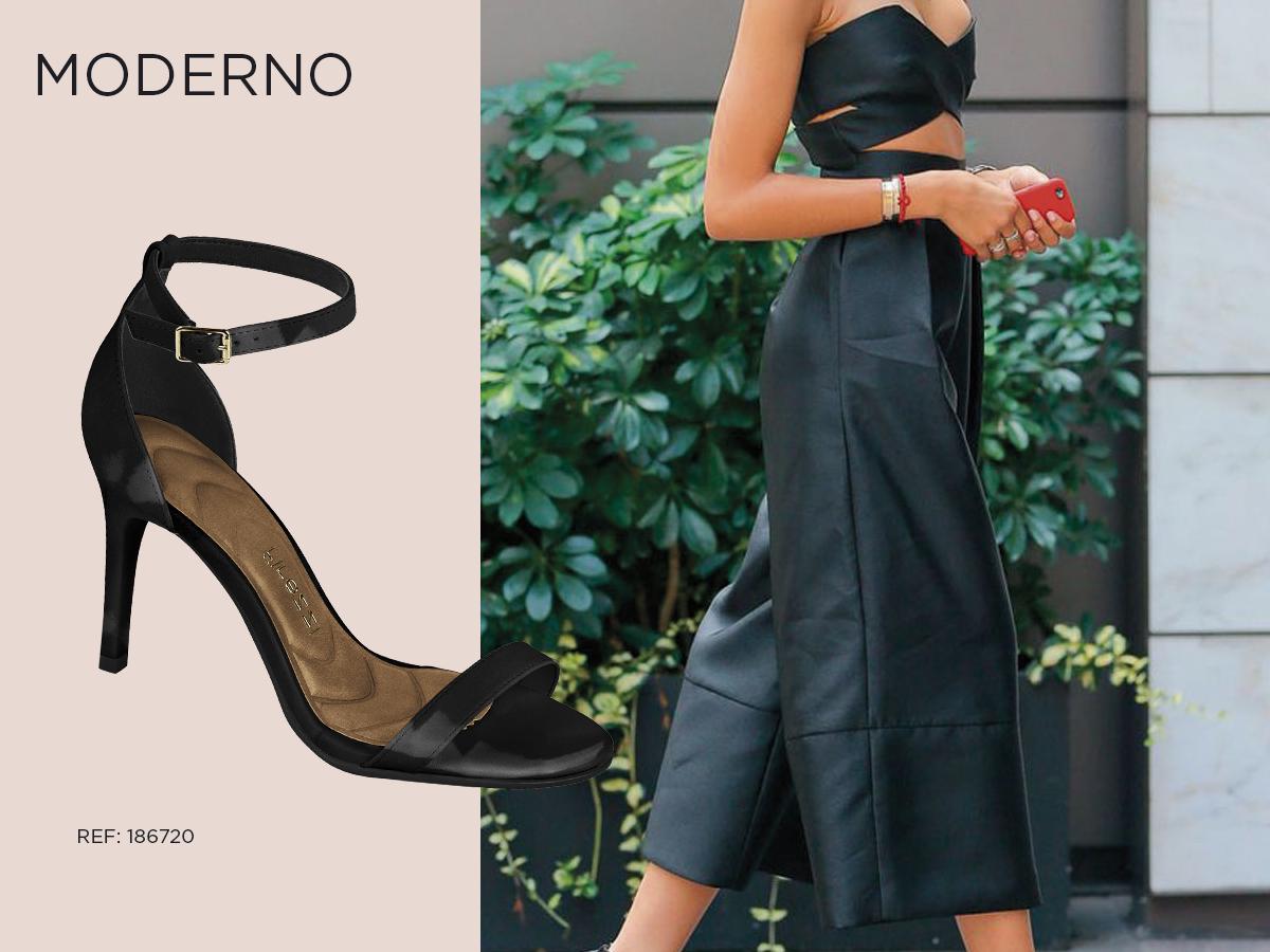 sandalia preta salto tornozeleira look como usar conforto cropped calca pantacourt