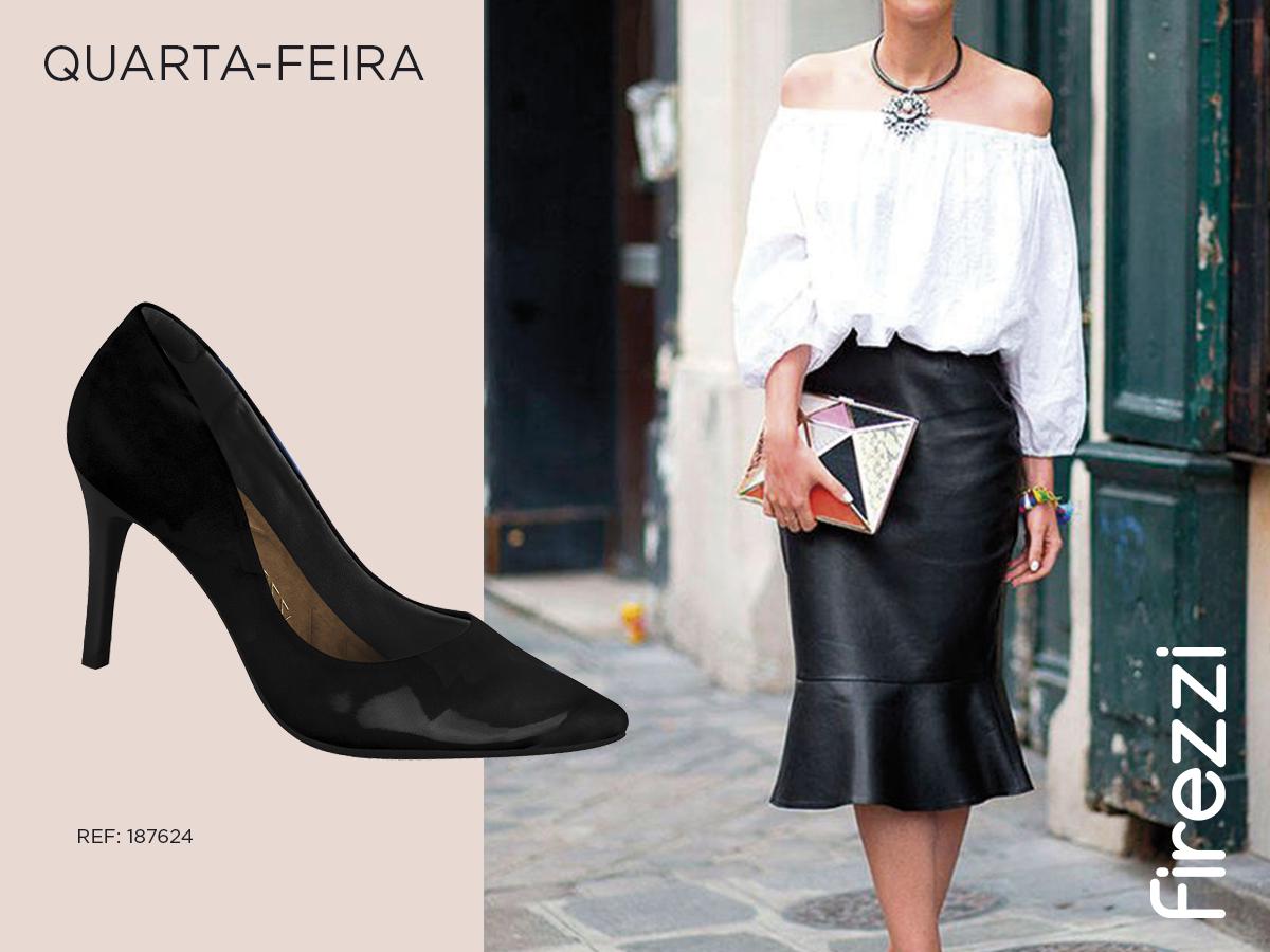 quarta-feira - saia blusa preto e branco scarpin sapato