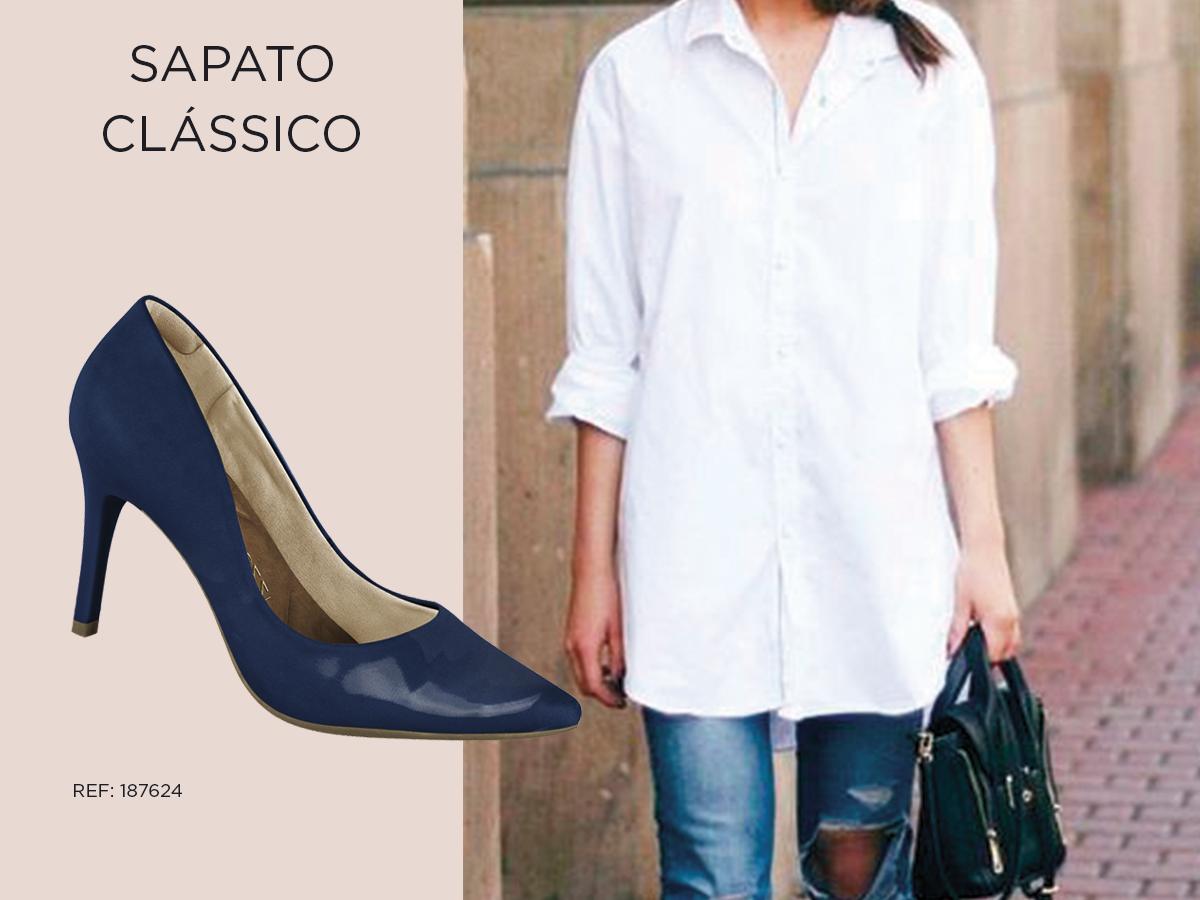 sapato-classico scarpin look azul envernizado camisa branca
